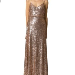 Jenny Yoo Jules Rose Gold Sequin Gown Size 10